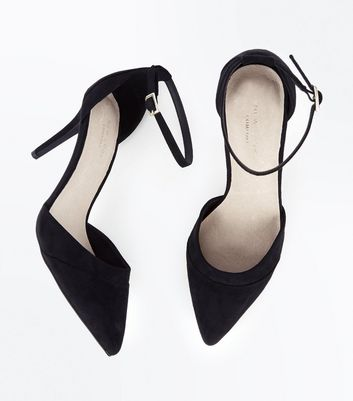 Black Comfort Flex Suedette Pointed Court Shoes New Look