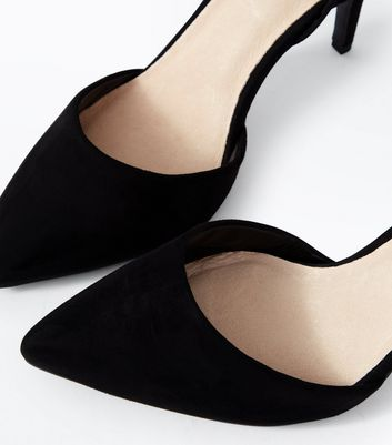 Black Comfort Flex Suedette Cut Out Pointed Courts New Look