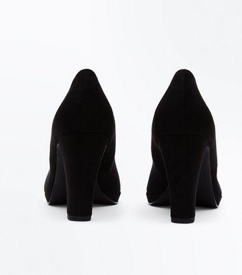 Black Comfort Suedette Platform Round Toe Courts New Look