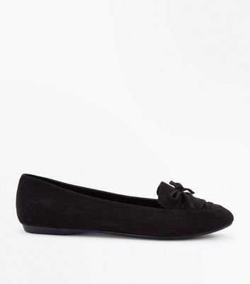 Wide Fit Black Suedette Lace Up Pointed Loafers New Look