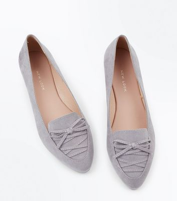 Wide Fit Grey Suedette Lace Up Pointed Loafers New Look