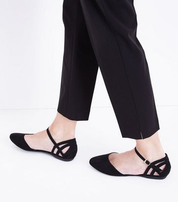 Wide Fit Black Suedette Caged Back Pumps New Look