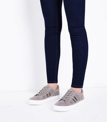 Grey Suedette Cut Out Metallic Panel Trainers New Look