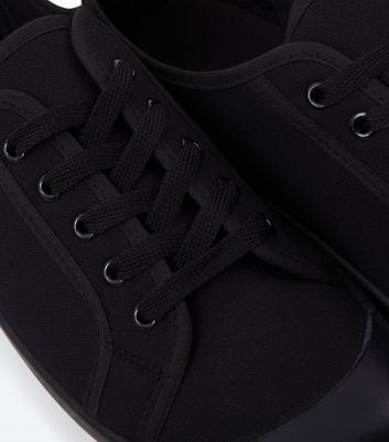 Black Canvas Lace Up Trainers New Look