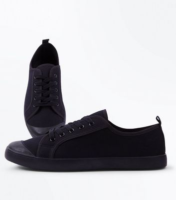 Black Canvas Lace Up Trainers | New Look