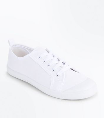 White Canvas Lace Up Trainers New Look