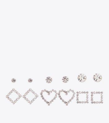 6 Pack Silver Stone Embellished Geometric Stud Earrings New Look