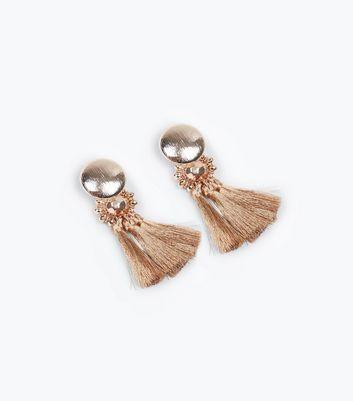 Rose Gold Metallic Tassel Earrings New Look