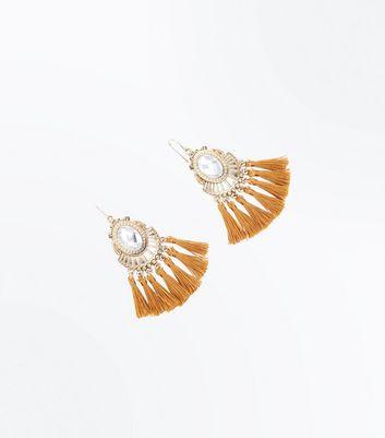 Gold Crystal Embellished Tassel Earrings New Look