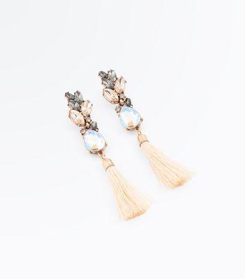 Gold Crystal Tassel Earrings New Look