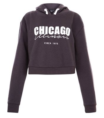 Teens Grey Chigago Print Hoodie New Look