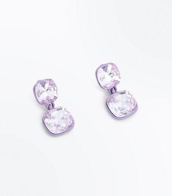 Lilac Square Gem Drop Earrings New Look