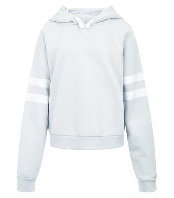 Teens Pale Blue Stripe Sleeve Hoodie New Look