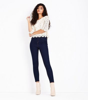 Cream Crochet Lace 3/4 Sleeve Top New Look