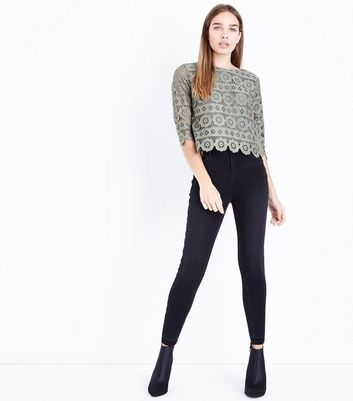 Olive Green Crochet Lace 3/4 Sleeve Top New Look