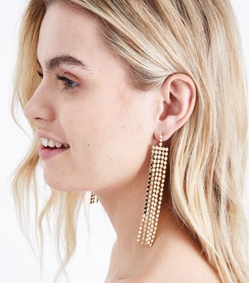 Gold Flat Ball and Chain Tassel Earrings New Look
