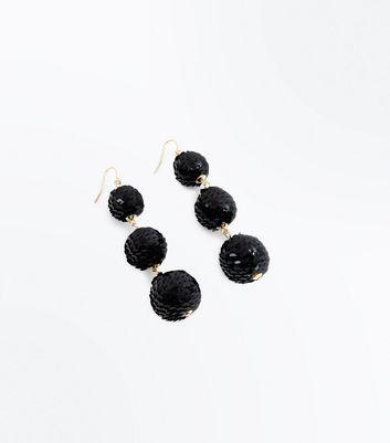 Black Sequin Orb Drop Earrings New Look