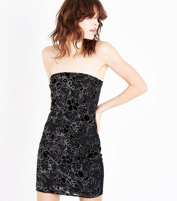 Parisian Black Velvet Embellished Bandeau Dress New Look