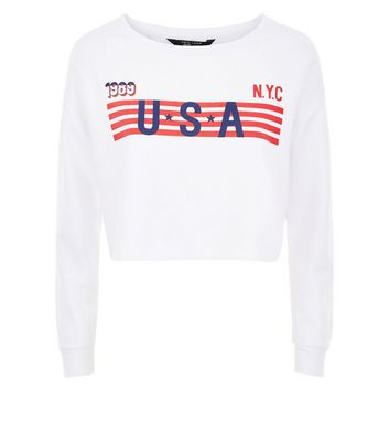 Teens White USA Stripe Logo Sweatshirt New Look