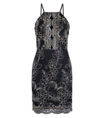 Parisian Black Metallic Embroidered High Neck Dress New Look