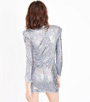 Parisian Silver Sequin Long Sleeve Dress New Look