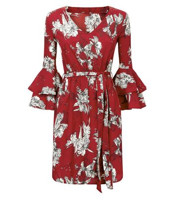 Parisian Red Layered Bell Sleeve Floral Print Dress New Look