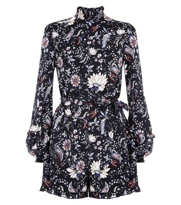 Parisian Black Floral Print Tie Waist Playsuit New Look
