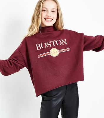 Teens Burgundy Boston Print Funnel Neck Sweatshirt New Look