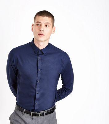 Navy Poplin Long Sleeve Shirt New Look