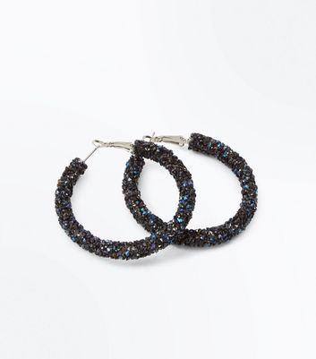 Navy Stone Embellished Hoop Earrings New Look
