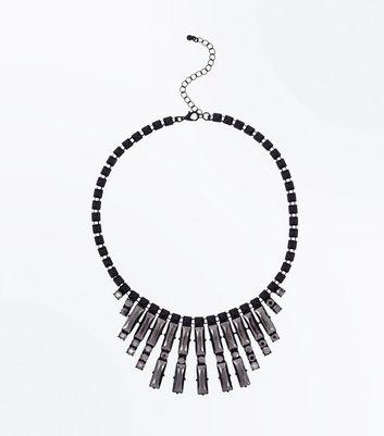Black Metallic Stone Embellished Necklace New Look