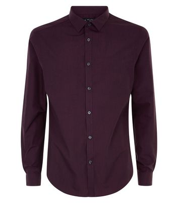 Burgundy Long Sleeve Shirt New Look