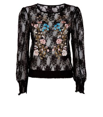 Black Floral Embroidered Shirred Lace Top New Look