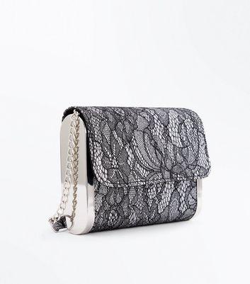Black Glitter Lace Clutch Bag New Look