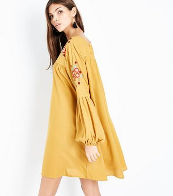 Yellow Floral Embroidered Balloon Sleeve Smock Dress New Look