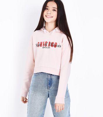Teens Pink Chicago Logo Hoodie New Look
