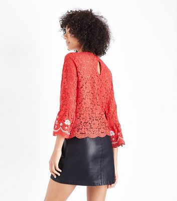 Red Lace Floral Embroidered Top New Look