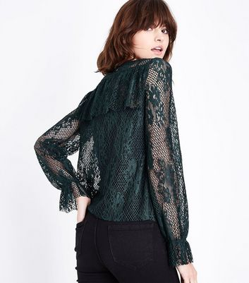 Green Fishnet Lace Frill Trim Top New Look