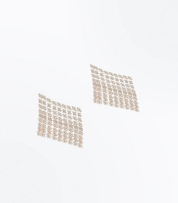 Rose Gold Diamante Square Earrings New Look