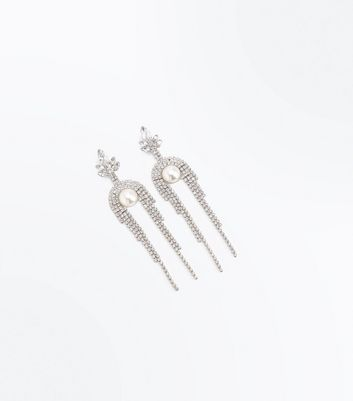 Silver Pearl Diamante Embellished Drop Earrings New Look