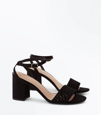 Black Comfort Flex Suedette Cut Out Strap Heeled Sandals New Look