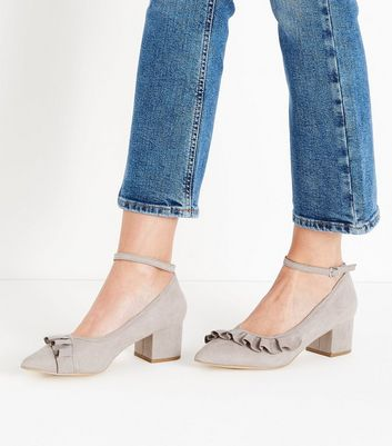 Wide Fit Grey Suedette Frill Trim Pointed Courts New Look