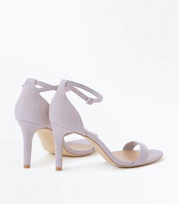 Wide Fit Grey Suedette Stiletto Heeled Sandals New Look