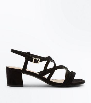 Black Suedette Mid Heel Strappy Sandals