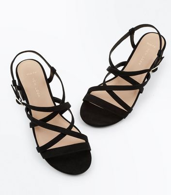 Wide Fit Black Suedette Mid Heel Strappy Sandals New Look