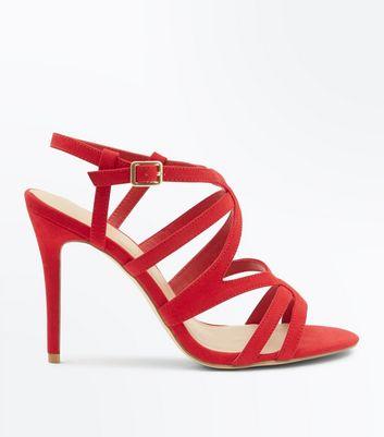 Wide Fit Red Suedette Strappy Stiletto