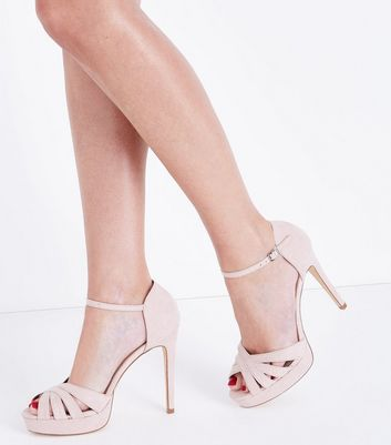Wide Fit Nude Suedette Platform Stiletto Sandals New Look