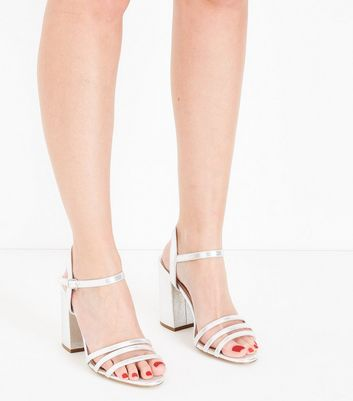 Wide Fit Silver Metallic Triple Strap Sandals New Look