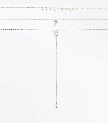 Rose Gold Diamante Choker Drop Necklace New Look