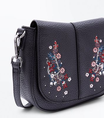 Black Floral Embroidered Cross Body Saddle Bag New Look